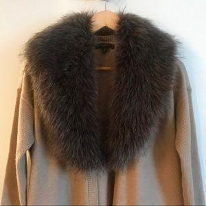 Banana Republic Open Sweater; Removable Faux Fur